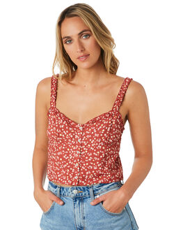 RED FLORAL WOMENS CLOTHING ELWOOD FASHION TOPS - W01304REDF