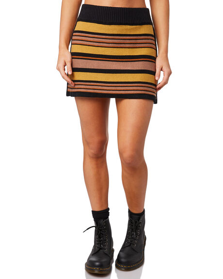 PEACH STRIPE WOMENS CLOTHING AFENDS SKIRTS - W183901-PST