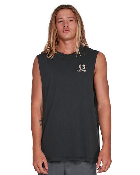 WASHED BLACK MENS CLOTHING VONZIPPER SINGLETS - VZ-3994501-WAA
