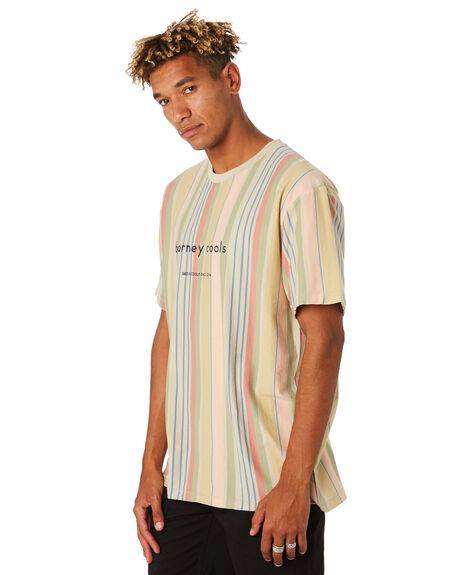 WHITE VERT STRIPE MENS CLOTHING BARNEY COOLS TEES - 150-CC3WHTST