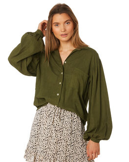 MUSTANG GREEN WOMENS CLOTHING RUE STIIC FASHION TOPS - SA19-39-MG