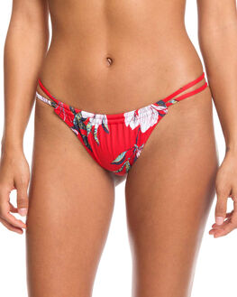 CHINESE RED TROPICAL WOMENS SWIMWEAR ROXY BIKINI BOTTOMS - ERJX403850-RQQ6
