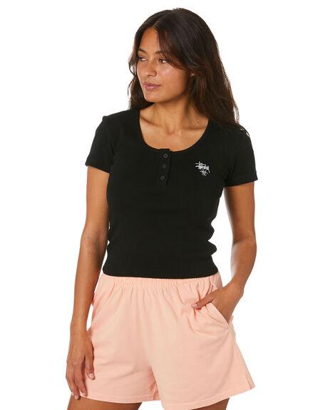 BLACK WOMENS CLOTHING STUSSY TEES - ST102103BLK