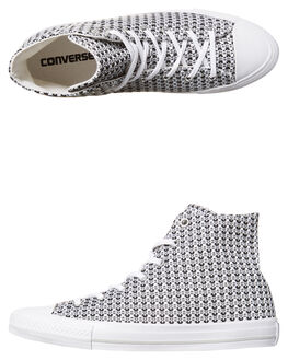 BLACK WHITE MOUSE WOMENS FOOTWEAR CONVERSE HI TOPS - 555876BWM