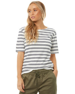WHITE NAVY STRIPE WOMENS CLOTHING SWELL TEES - S8182002WHNVS