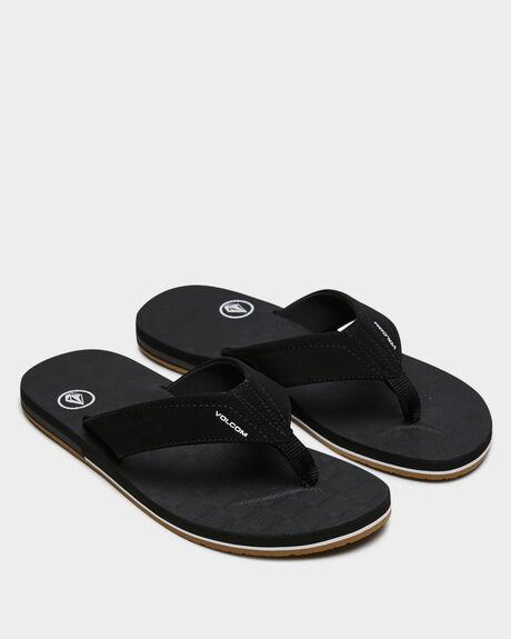 BLACK MENS FOOTWEAR VOLCOM THONGS - V0811522BLK