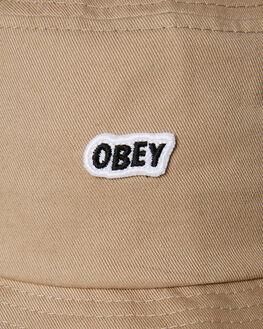 KHAKI MENS ACCESSORIES OBEY HEADWEAR - 100520017KHA