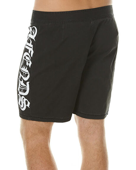 BLACK MENS CLOTHING AFENDS BOARDSHORTS - 10-01-068BLK