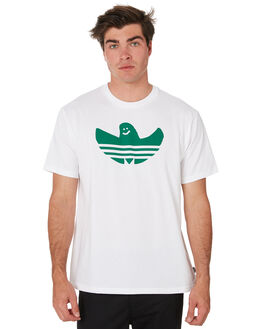 WHITE BOLD GREEN MENS CLOTHING ADIDAS TEES - EC7374WHGRN