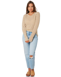 TAN STRIPE WOMENS CLOTHING NUDE LUCY TEES - NU23584TANS