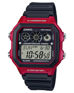 RED BLACK MENS ACCESSORIES CASIO WATCHES - AE1300WH-4ARDBLK