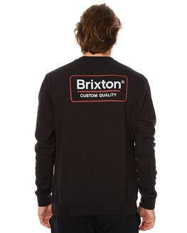 BLACK MENS CLOTHING BRIXTON JUMPERS - 02244BLK