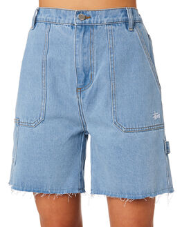 BLUE DENIM WOMENS CLOTHING STUSSY SHORTS - ST192604BLDNM