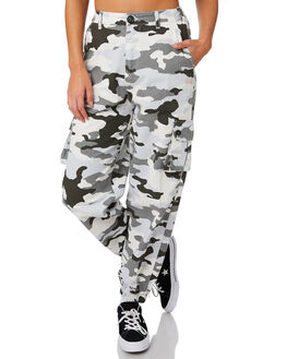 WHITE CAMO WOMENS CLOTHING STUSSY PANTS - ST183617WHI
