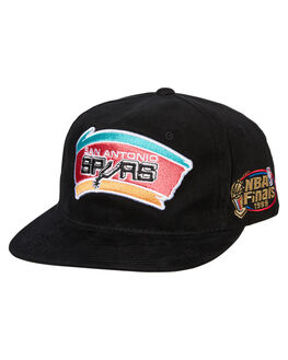 SPURS BLACK MENS ACCESSORIES MITCHELL AND NESS HEADWEAR - MO19131BLK