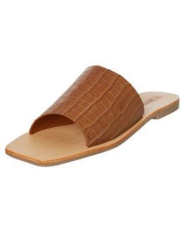 TAN CROC WOMENS FOOTWEAR SOL SANA SLIDES - SS192S426TANC