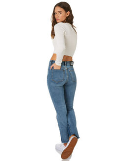 MID BLUE WEDGE WOMENS CLOTHING DR DENIM JEANS - 1910111-H43