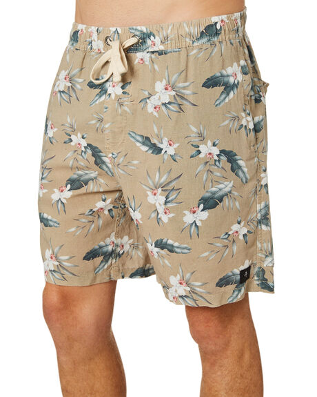 TAN FLORAL MENS CLOTHING THRILLS SHORTS - TR8-304CZTANFL