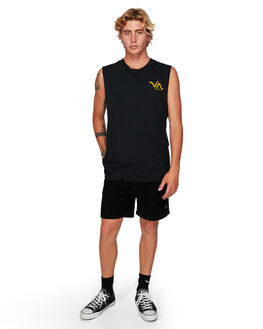 BLACK MENS CLOTHING RVCA SINGLETS - RV-R192006-BLK