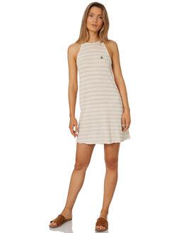NATURAL STRIPE WOMENS CLOTHING THRILLS DRESSES - WTS8-906AZNAT