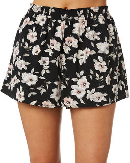 BLACK FLORAL PRINT WOMENS CLOTHING VOLCOM SHORTS - B0941901BFP