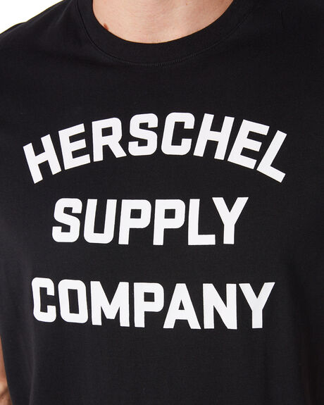BLACK WHITE OUTLET MENS HERSCHEL SUPPLY CO TEES - 50027-00385BLKWH