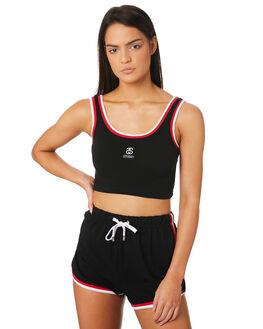 BLACK WOMENS CLOTHING STUSSY SINGLETS - ST183212BLK