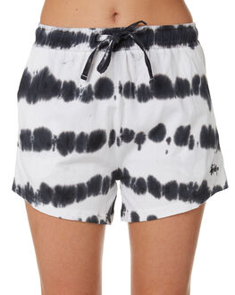 BLACK WHITE WOMENS CLOTHING STUSSY SHORTS - ST193618BKWT
