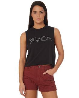 WASHED BLACK WOMENS CLOTHING RVCA SINGLETS - R282004WBLK