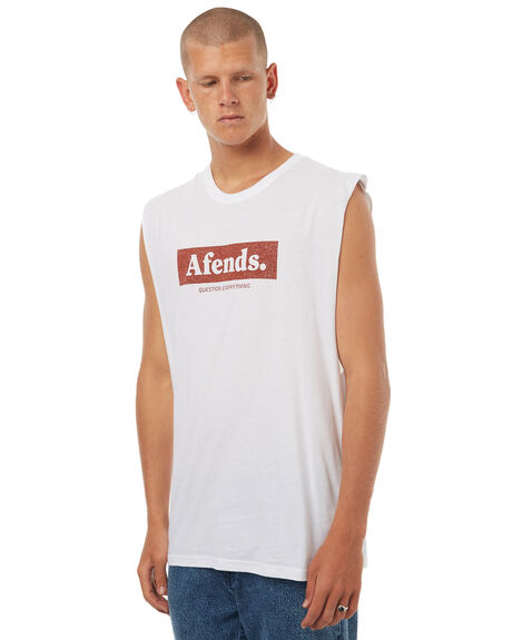 WHITE MENS CLOTHING AFENDS SINGLETS - 01-05-112WHT