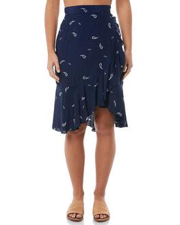 NAVY PAISLEY WOMENS CLOTHING RUE STIIC SKIRTS - S118-37NAVY