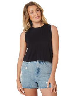 WASHED BLACK WOMENS CLOTHING ALL ABOUT EVE SINGLETS - 6424025WBLK