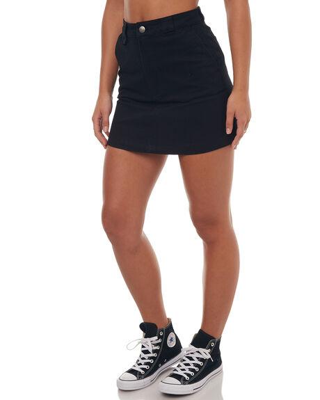 BLACK WOMENS CLOTHING RVCA SKIRTS - R272831BLK