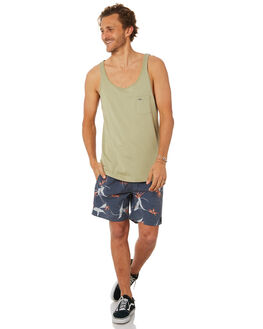 WASHED OLIVE MENS CLOTHING RIP CURL SINGLETS - CTELO29591