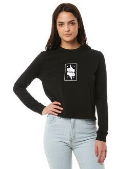 BLACK WOMENS CLOTHING RVCA TEES - R283096BLK