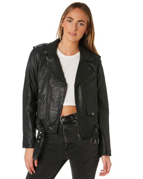 BLACK WOMENS CLOTHING THRILLS JACKETS - WTLP-200BBLK