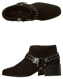 BLACK STUD WOMENS FOOTWEAR SOL SANA BOOTS - SS171W483BLKS