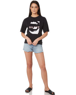WASHED BLACK WOMENS CLOTHING SILENT THEORY TEES - 6022027WBLK