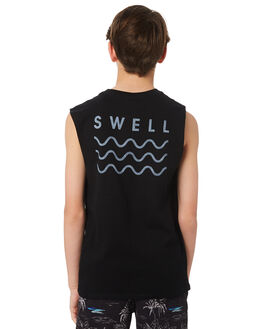 BLACK KIDS BOYS SWELL SINGLETS - S3171275BLACK