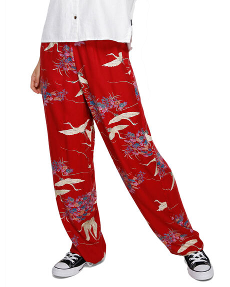 RED WOMENS CLOTHING RVCA PANTS - RV-R291273-RED