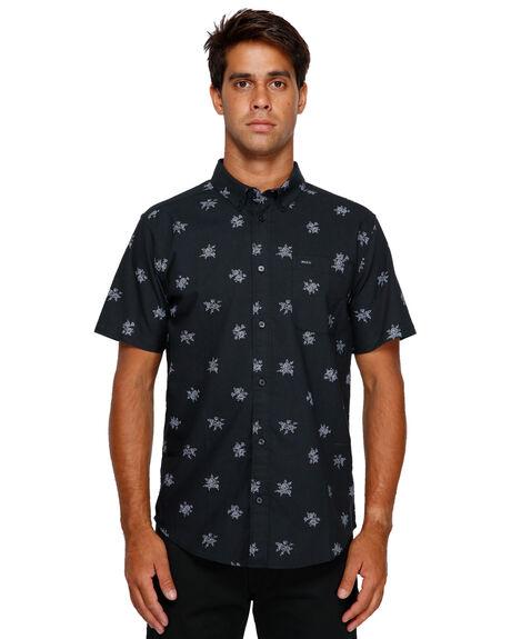BLACK MENS CLOTHING RVCA SHIRTS - RV-R393188-BLK