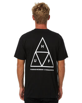 BLACK MENS CLOTHING HUF TEES - TSBSC114BLK