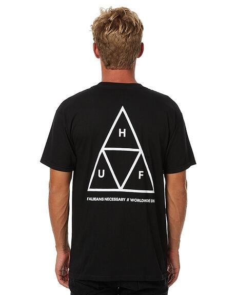 BLACK MENS CLOTHING HUF TEES - TSBSC114BLK