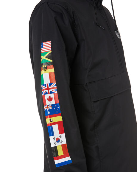 BLACK MENS CLOTHING HUF JACKETS - JK00163-BLACK