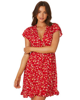 RED FLORAL WOMENS CLOTHING RHYTHM DRESSES - QTM19W-DR26RED