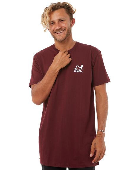BURGUNDY MENS CLOTHING FEAT TEES - FTTTLOG01BUR