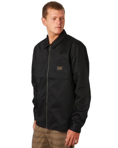 BLACK MENS CLOTHING STUSSY JACKETS - ST097508BLK