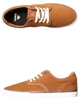 BROWN WHITE MENS FOOTWEAR EMERICA SKATE SHOES - 6101000104-217
