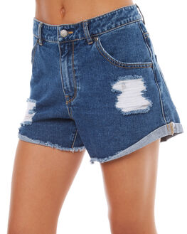 RETRO BLUE WOMENS CLOTHING ROXY SHORTS - ERJDS03151BKP0