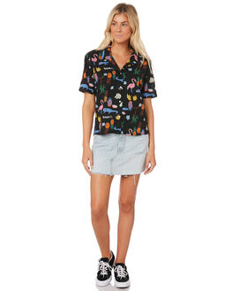 BLACK SUMMER WOMENS CLOTHING COOLS CLUB FASHION TOPS - 307-CW1BLK